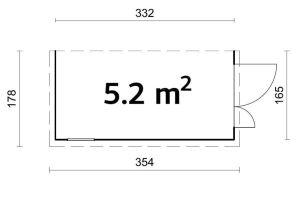 Cobertizo contenedores de jardín MIA 5,2 plano