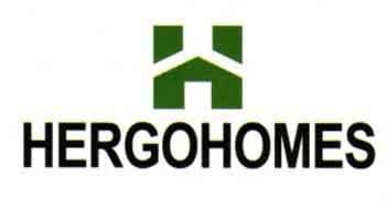 Casas prefabricadas Hergohomes en exposición, logo Hergohomes