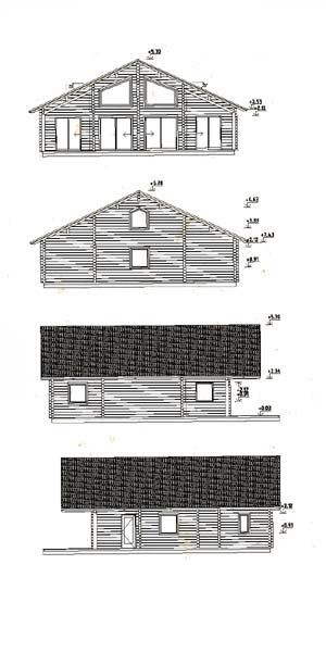 Alzados de kit vivienda de madera Gerda