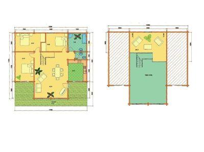 Plano de Kit vivienda de madera Gerda