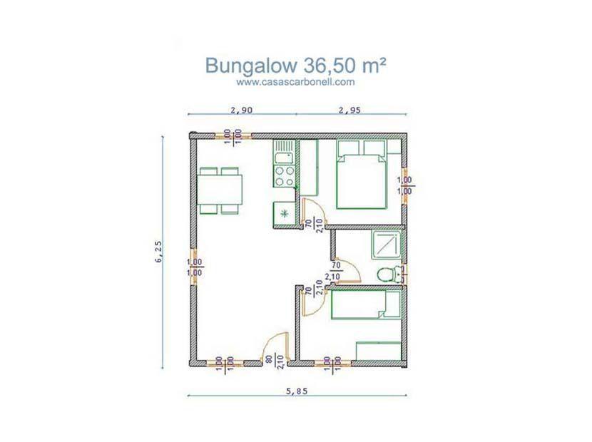 Bungalow de madera modelo Bungalow 36 m  Casas Carbonell