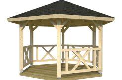 Pabellón de madera para jardín Betty 9.9 de Casas Carbonell de madera laminada