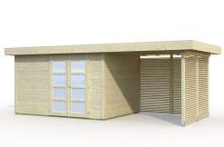 caseta de jardín económica Lara 8.4+5.9 Casas Carbonell con paneles prefabricados