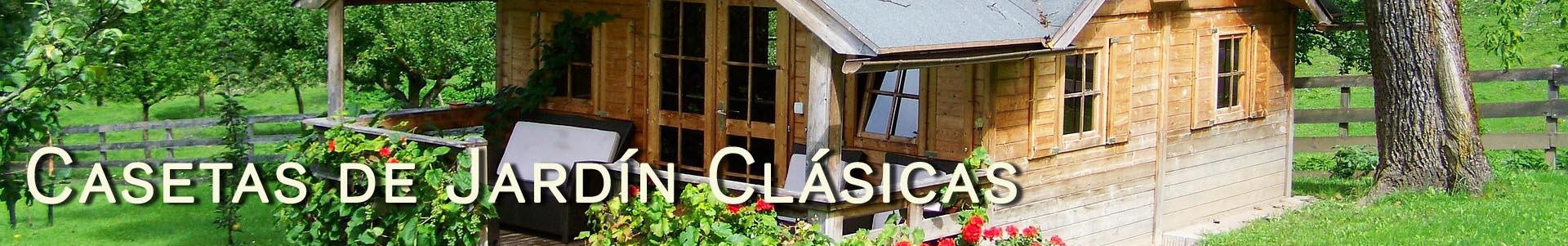 Casetas de jard n de madera en kit linea cl sica casas for Casetas prefabricadas para jardin