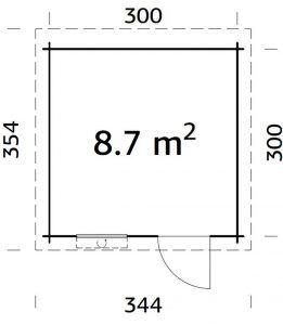 Plano de Casitas de jardín cabañaELSA 8,7