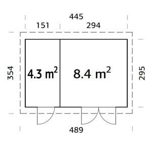 Plano de Caseta para jardín de maderaLARA 12,7
