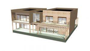 Construcción de casa de madera, diseño en 3D