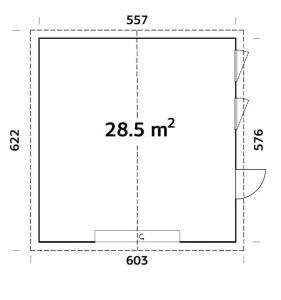 plano de Garaje Aislado Nórdico Andre 28,5