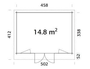 Plano de Casita de jardín sólida, cabañaBRET 14,8 m².