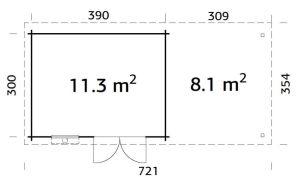 Plano de Cabaña de madera para jardín ELSA 11,3 + 8,1 m².
