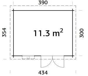 Plano de Cabaña para jardín de madera ELSA 11,3 m²