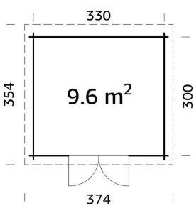 Plano de Cabaña de jardín ELSA 9,6 m².