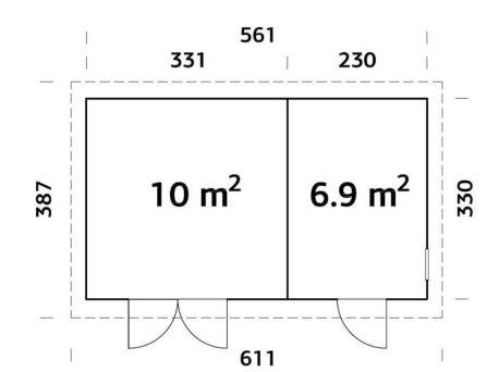 Plano de Cobertizo para jardín KALLE 16,9 m².