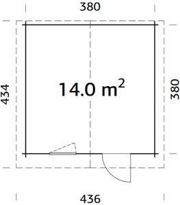 Plano de caseta cabaña Laura 14