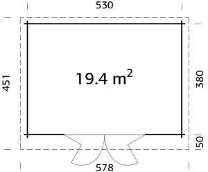Plano de Casita de madera sólida, cabaña LEA 19,4  m²
