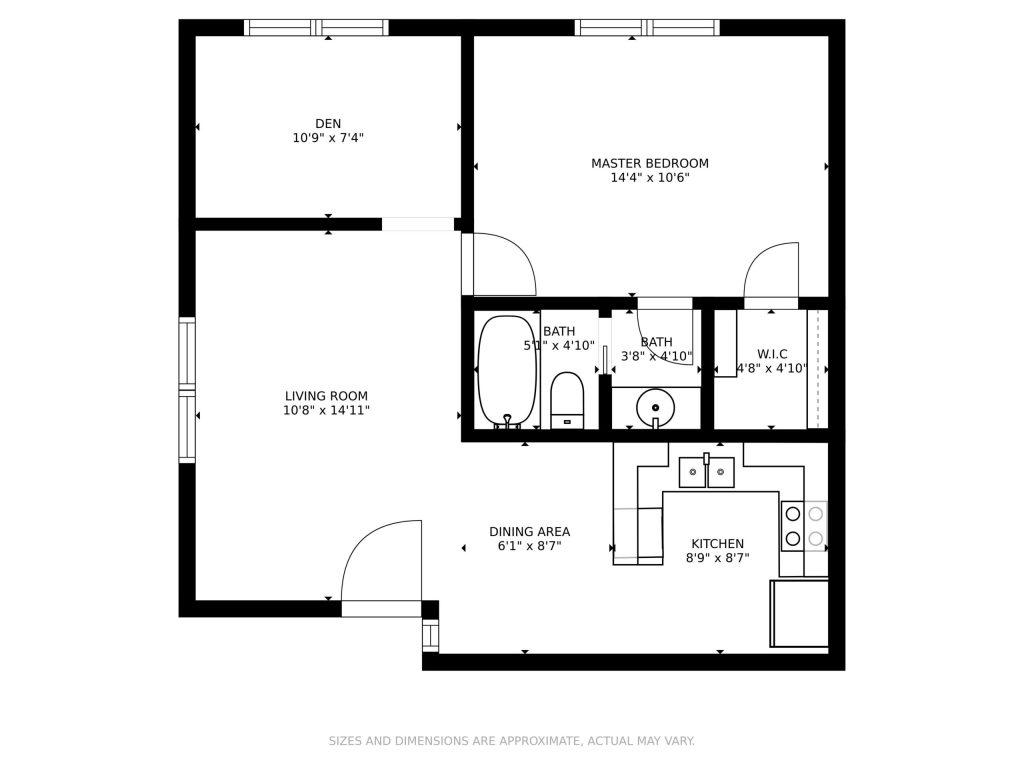 One bedroom floor plan - Casa Serena Apartments
