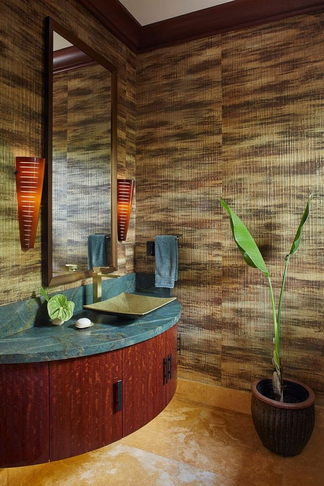 Small-and-stylish-powder-room-with-textural-beauty