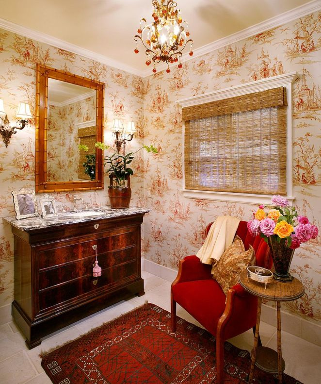 Window-blind-bamboo-mirror-frame-and-wallpaper-set-the-mood-in-this-powder-room