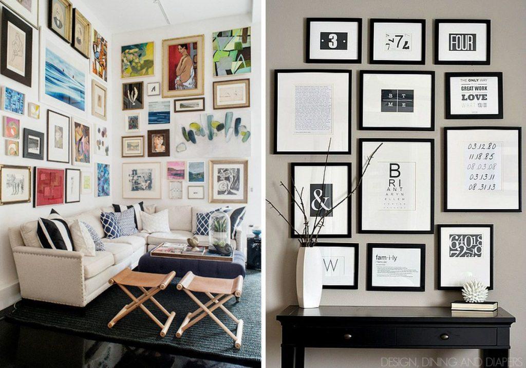 18 ideas para llenar una pared con cuadros  Casas IncreiblesCasas Increibles