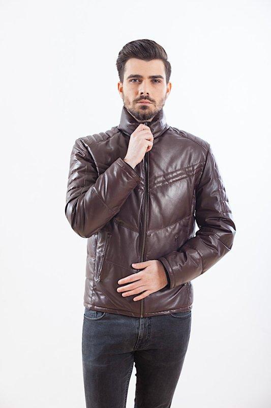 Jachete din piele cu puf de gasca la interior