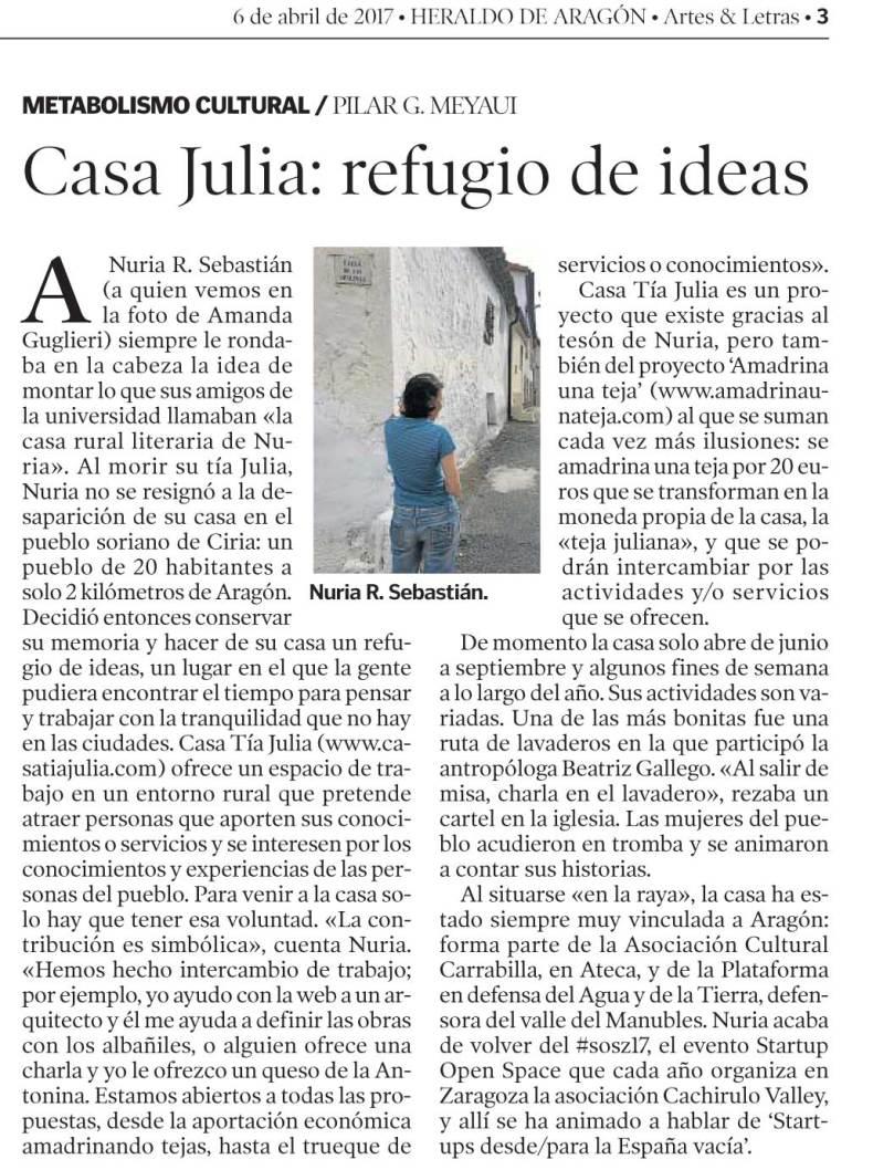 Reseña de Casa Tía Julia en Heraldo de Aragón