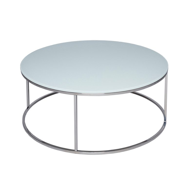 donna glass round coffee table with silver open base