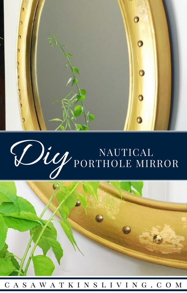 WOW! A DIY nautical porthole mirror made with upholstery tacks!