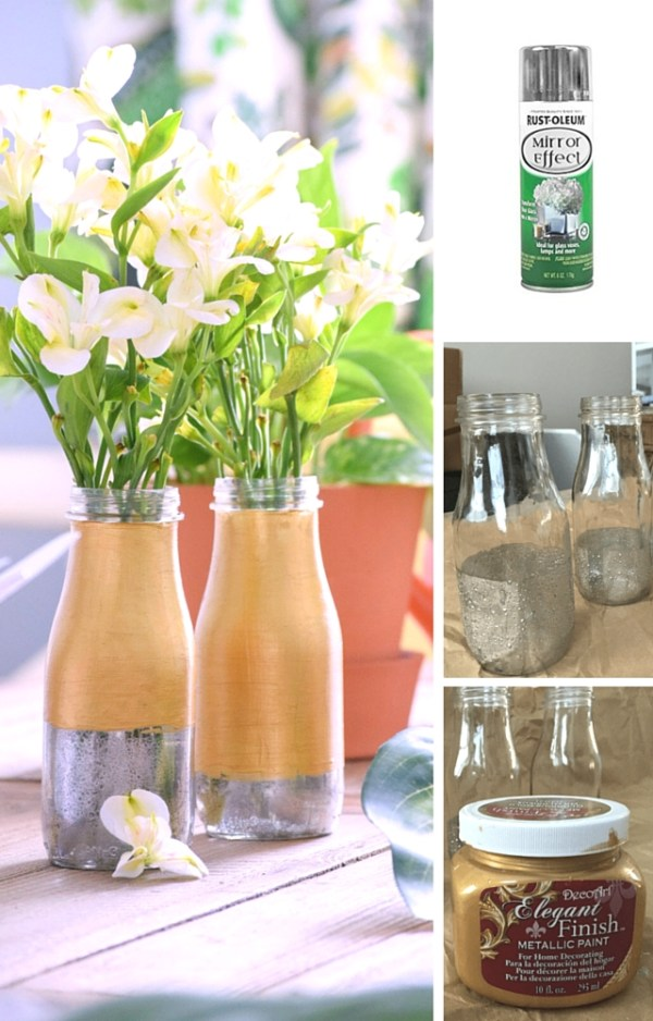 DIY Milk Glass Vases with mercury glass effect