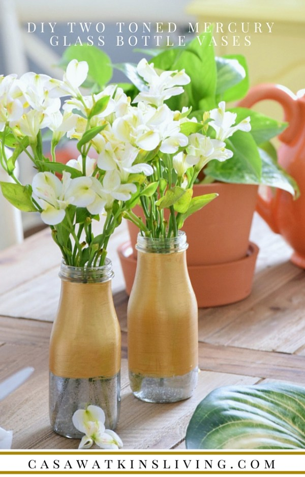 Now, I know what to do with all those recycled bottles. DIY Two Toned Mercury Glass Bottle Vases!