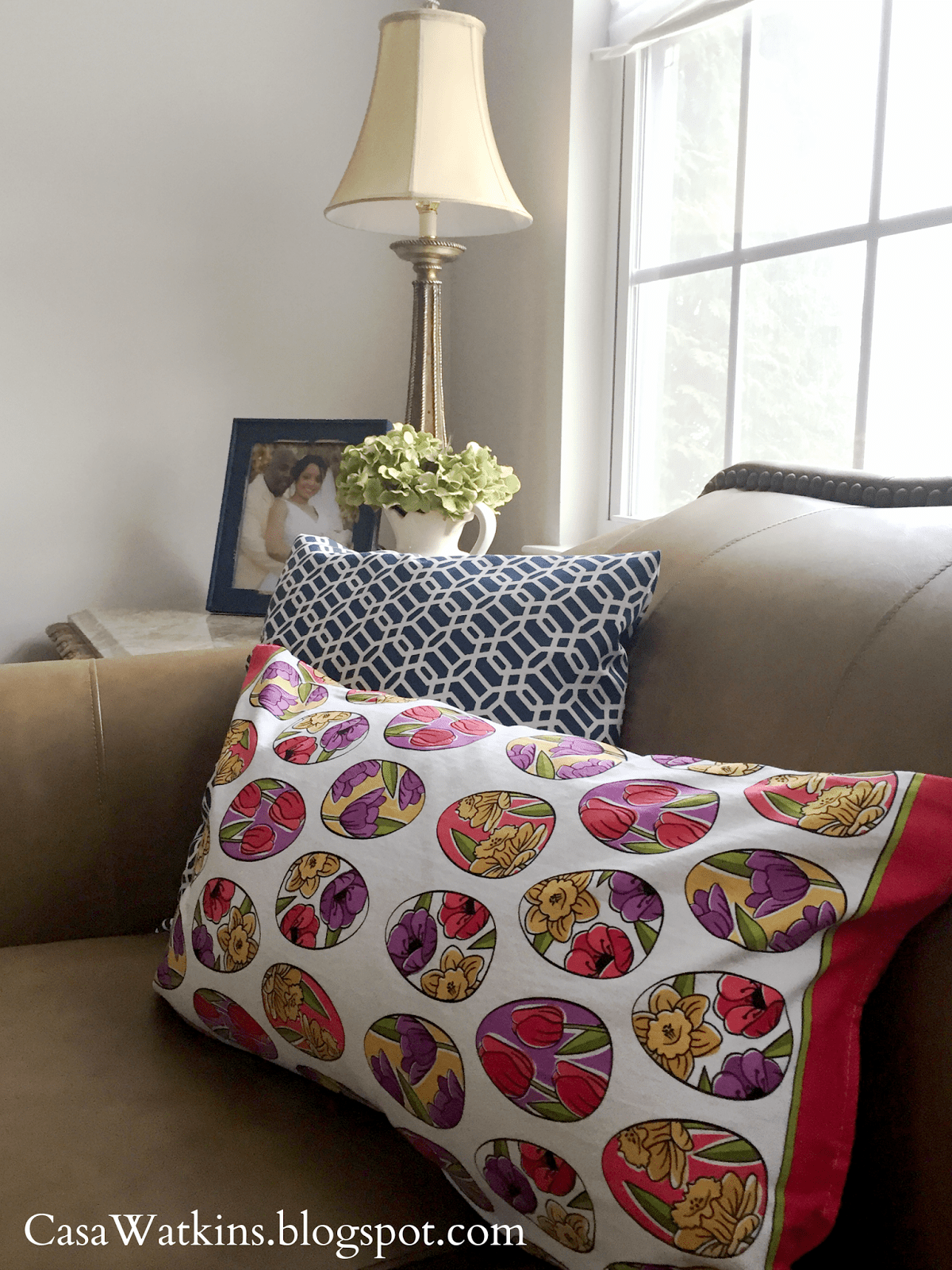 No Sew Easter Pillow Made of Kitchen Towels  Casa Watkins