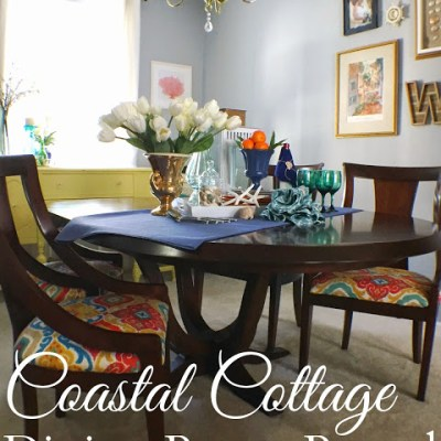 Colorful Coastal Cottage Dining Room Makeover Reveal