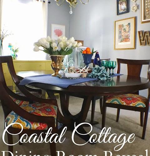 Colorful Coastal Cottage Dining Room Makeover Reveal