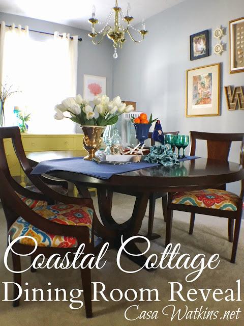 Colorful Coastal Cottage Dining Room Reveal at www.CasaWatkins.net
