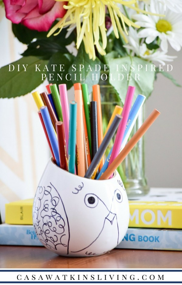 Cute DIY Kate Spade inspired pencil holder from a repurposed planter