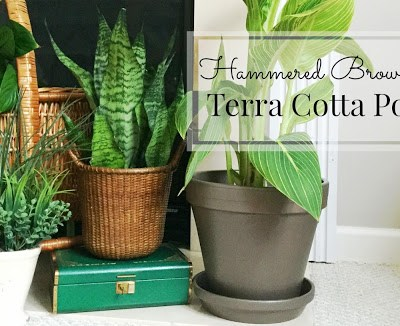 Hammered Brown Painted Terra Cotta Pot Makeover