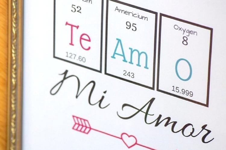Free Periodic Table Valentineu0027s Day Printable: Spanish Printable Art   Casa  Watkins Living