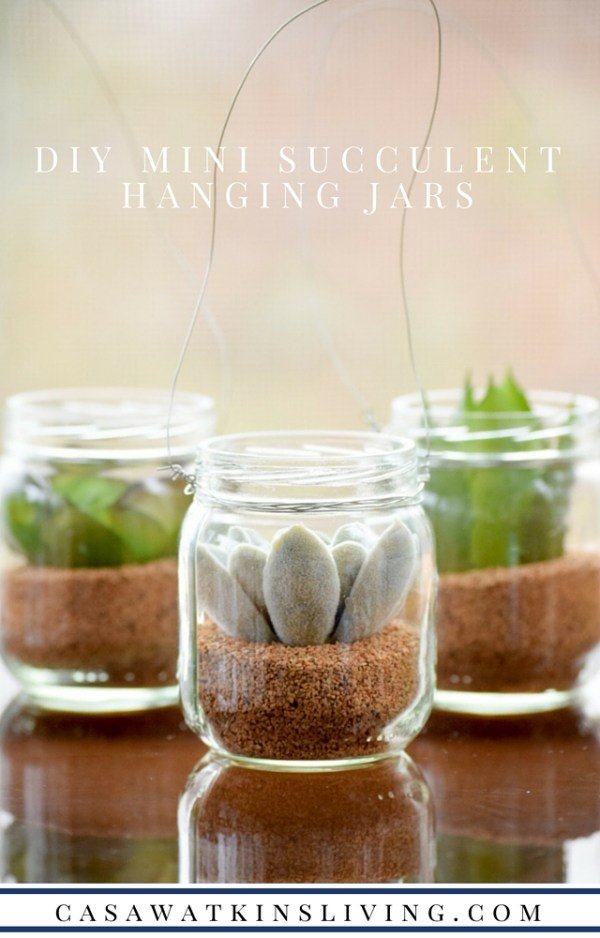 World Market inspired mini hanging succulent jars made with baby food jars!