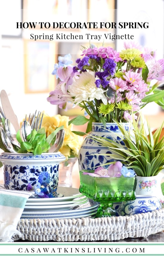 Use spring florals mixed with blue and white porcelain for a fresh spring vignette