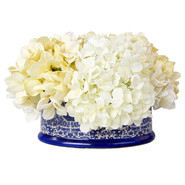 Cream Hydrangea in Chinoiserie Ceramic Planter