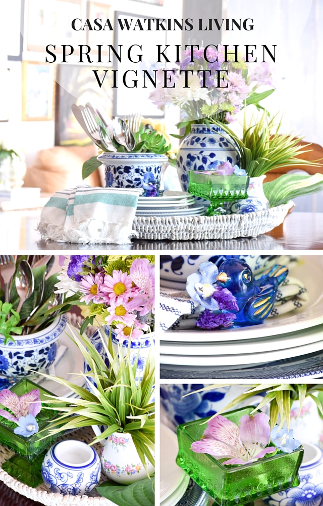 Decorating for spring with fresh florals for a tray vignette