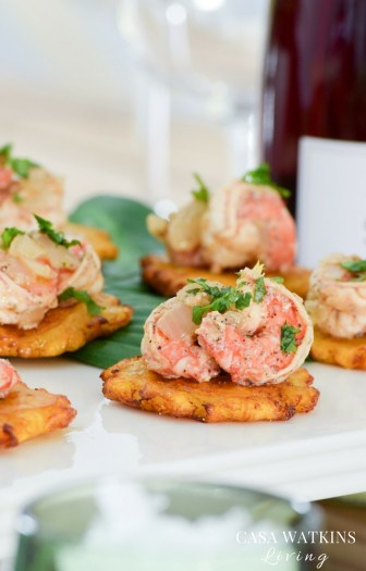 Dominican Sauteed shrimp with tostones