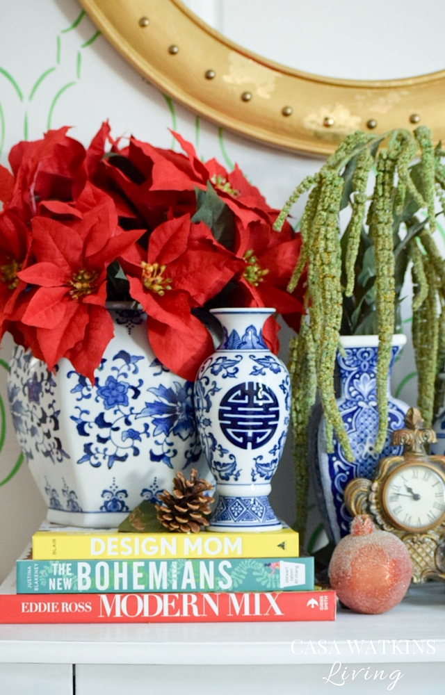 Mix chinoiserie blue and white porcelain with red and green florals for a modern mix of traditional and nontraditional colors