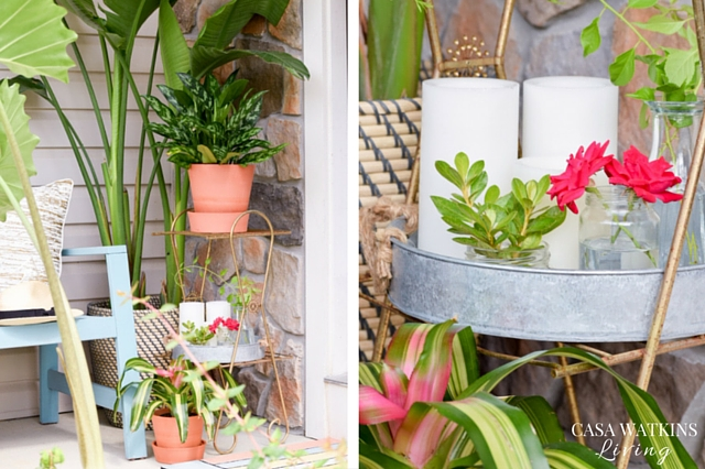 Decorating a summer plant stand with galvanized tray and jars for yard clippings