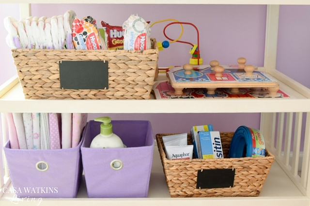 Use baskets for pull up station in toddler room