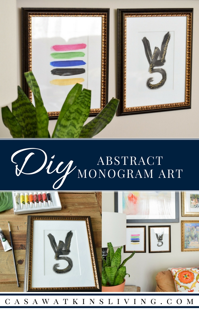 Easy peasy abstract art that also uses monogram! Best of both worlds of art.