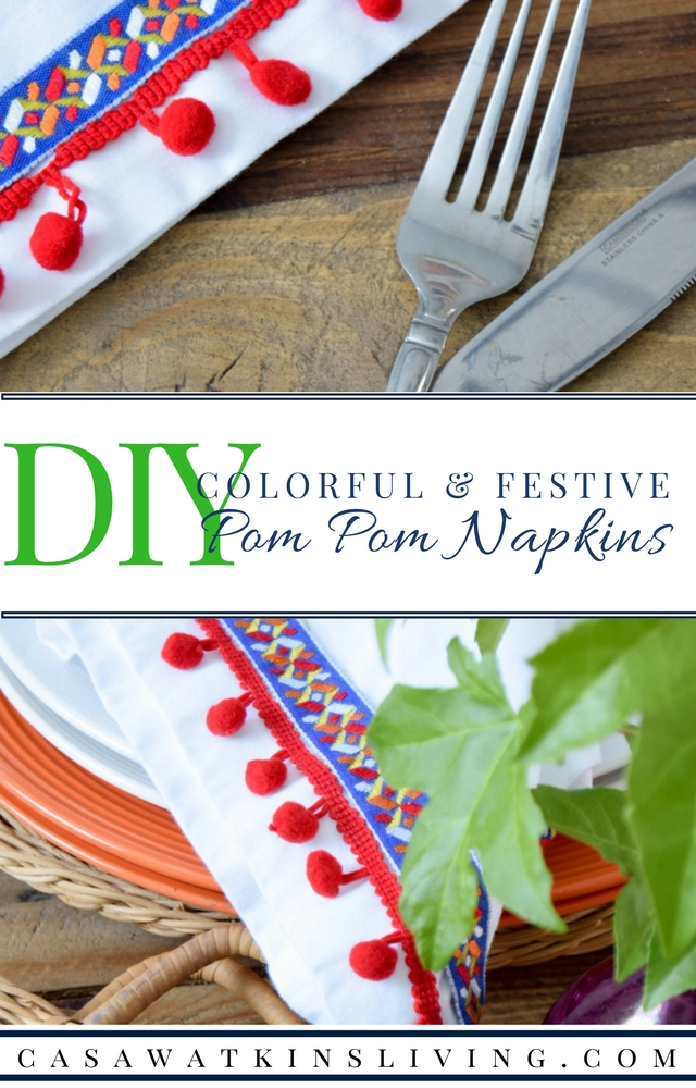 DIY pom pom napkins from curtains