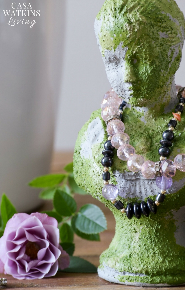 DIY faux concrete and moss jewelry holder from perfume bottle