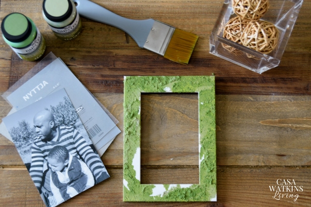 DIY faux moss photo frame with paint