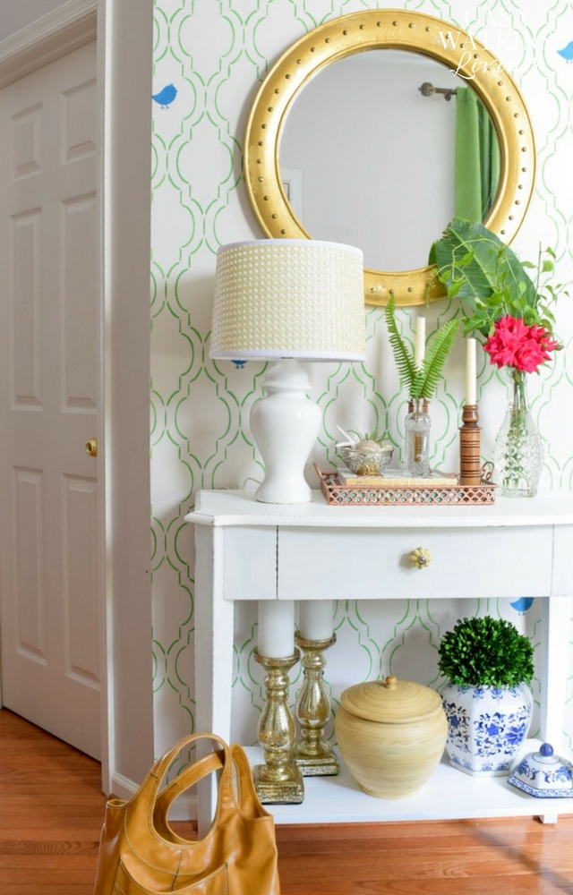 DIY stenciled entry wall