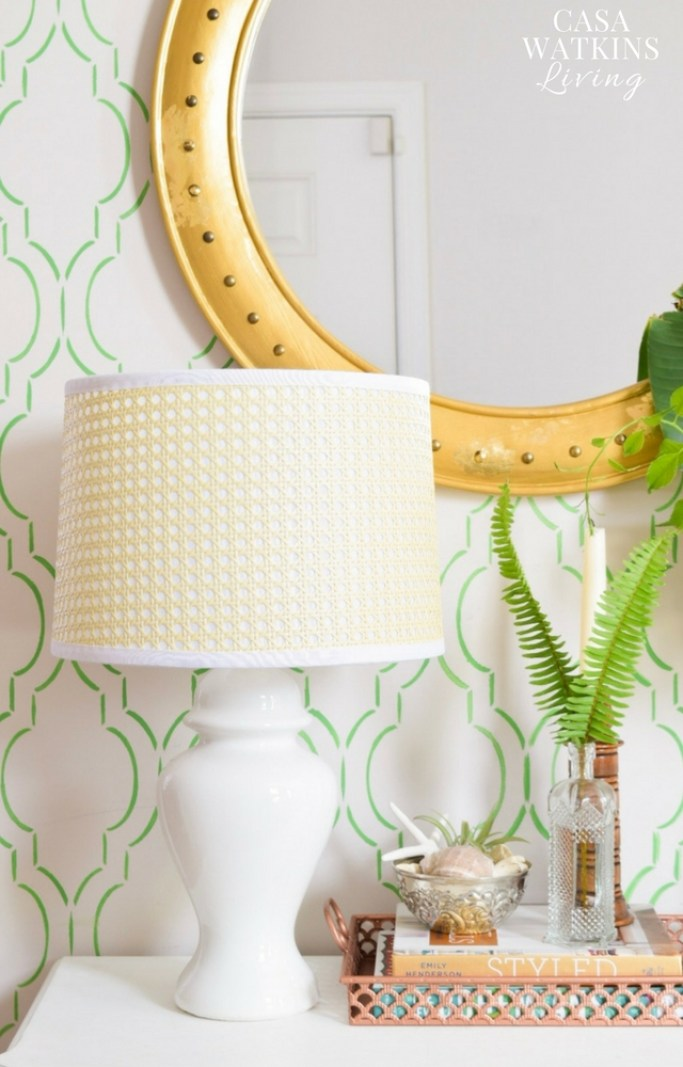 Green stenciled entryway wall